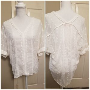 Philosophy White Chiffon Hi-Low Tunic Size S